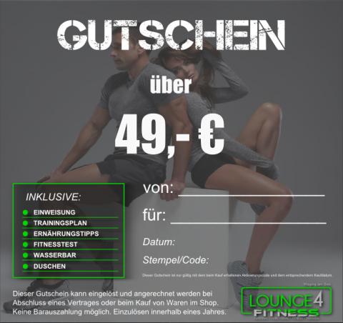 Beispielbild Gutschein Lounge4Fitness 49 Euro